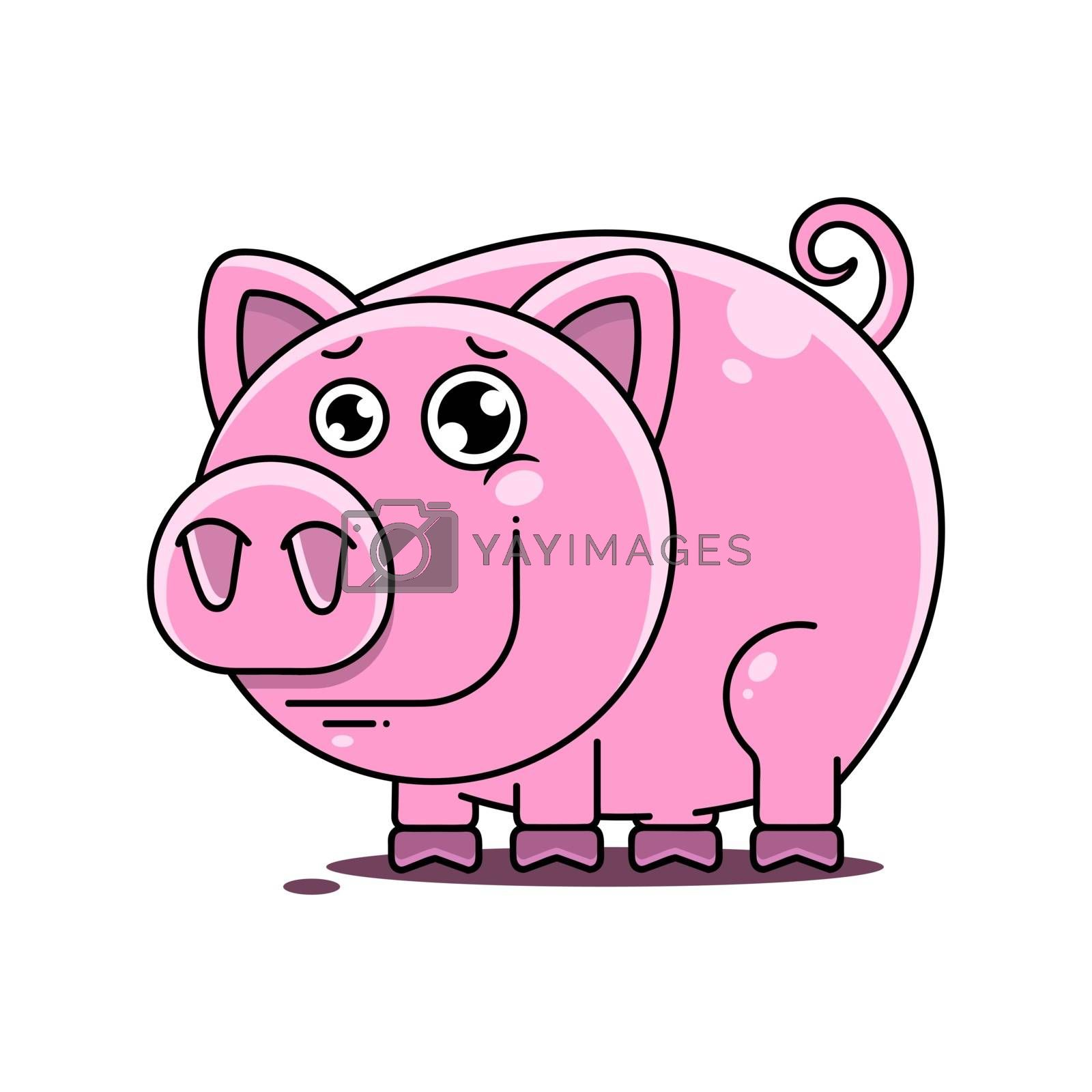 Pig Vector Illustration Suitable For Greeting Card, Poster Or T-shirt Printing.
