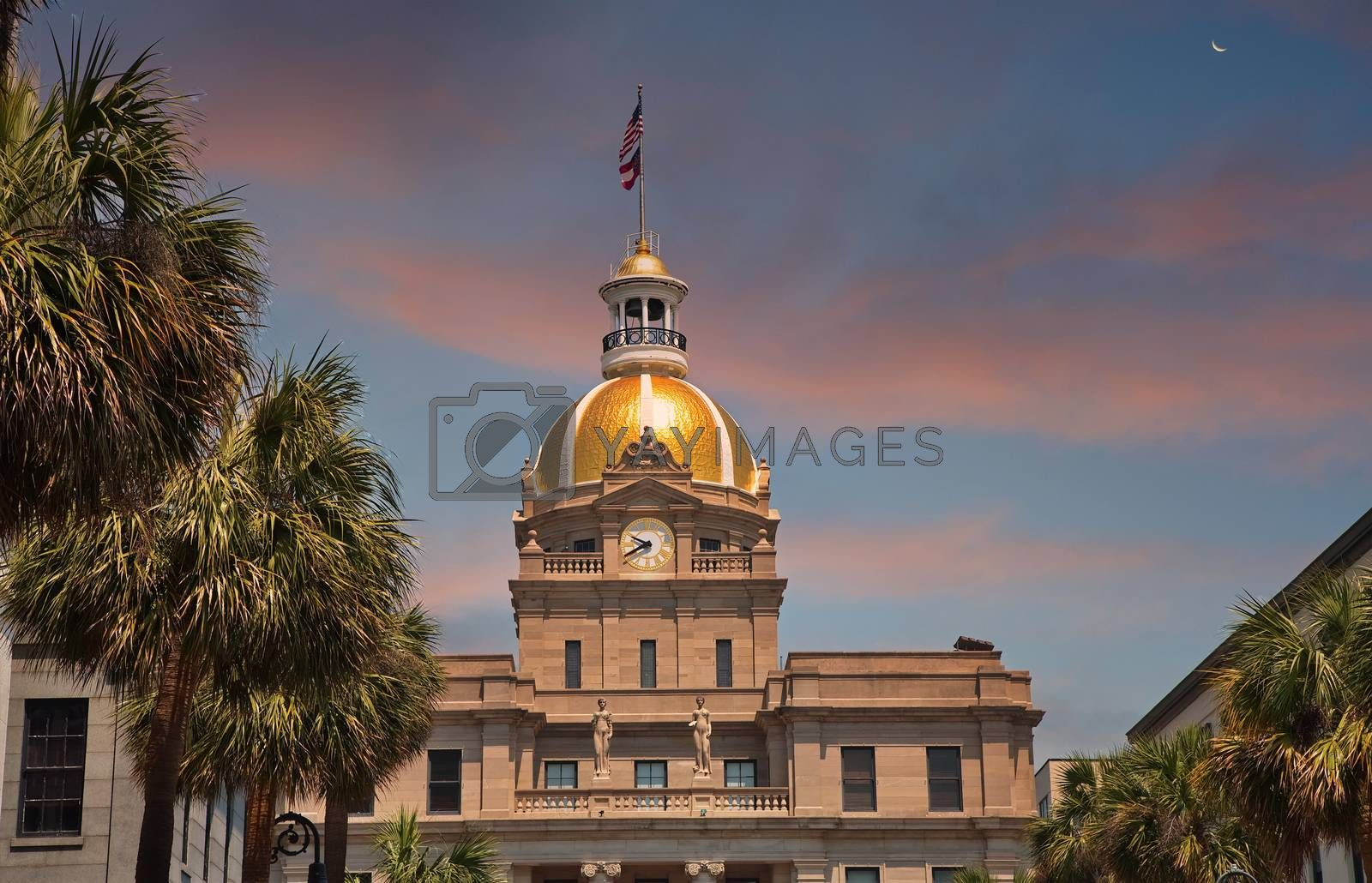 The famous gold domed city hall in Savannah, Georgia