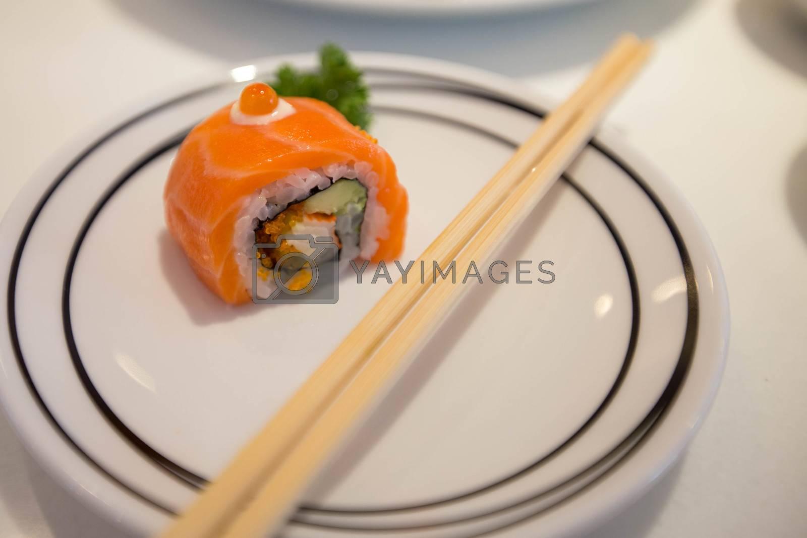 Japanese food closeup, Salmon sushi rolls