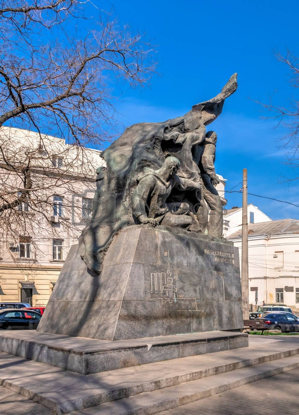 Odessa, Ukraine 03.11.2020. Monument to sailors of Battleship Potemkin, who supported workers revolt of 1905 in Odessa