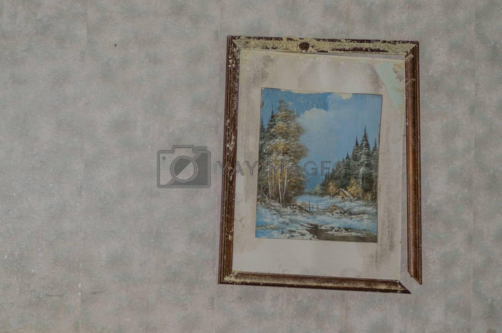 Old picture on the wall of a house