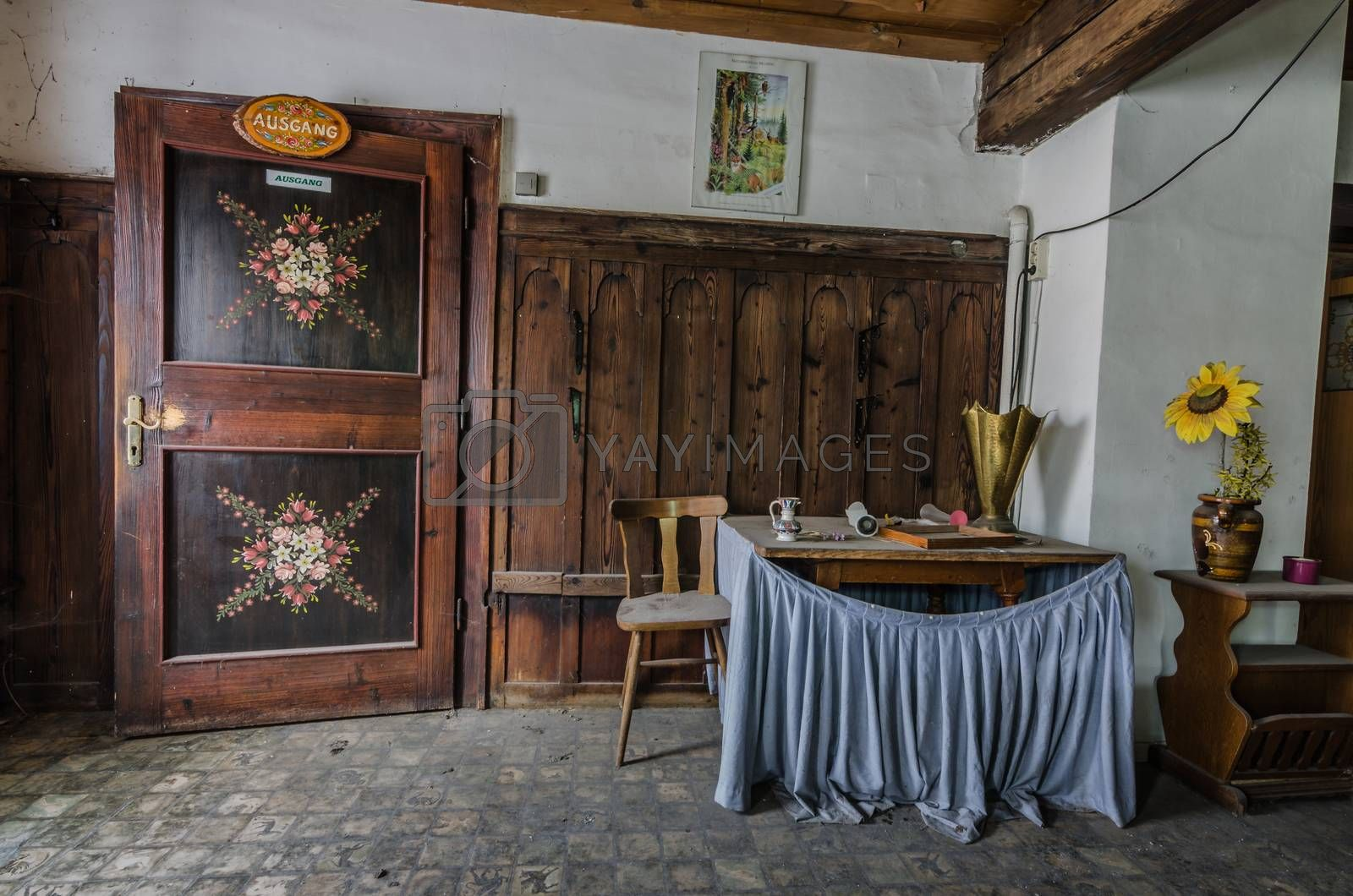 Decorated door in room of guest house by thomaseder
