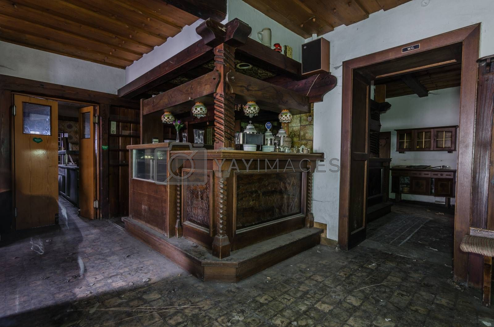 Wooden furniture in old guest house by thomaseder