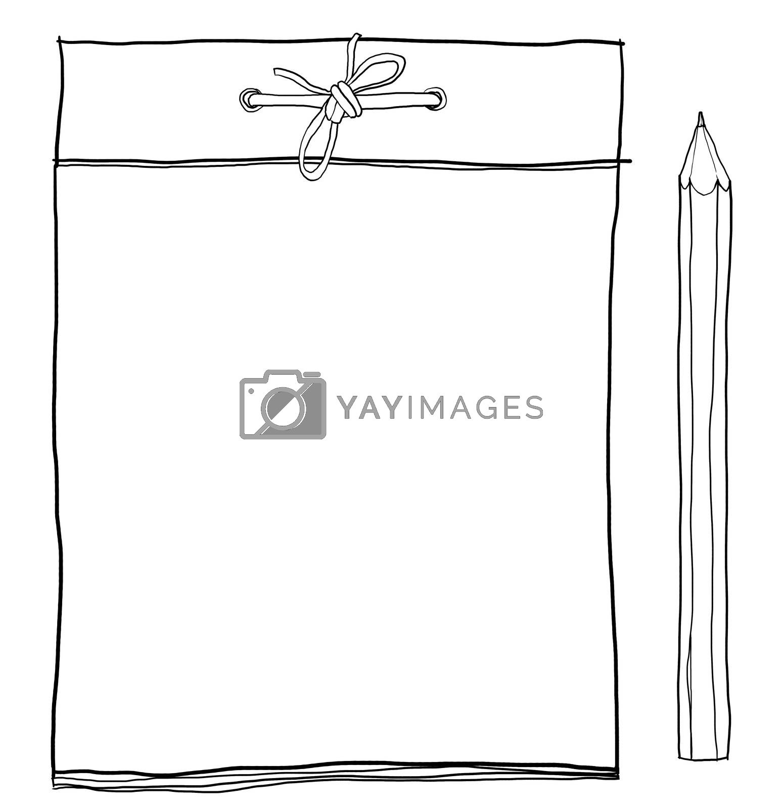 note pad and  yellow pencil cute lineart illustration