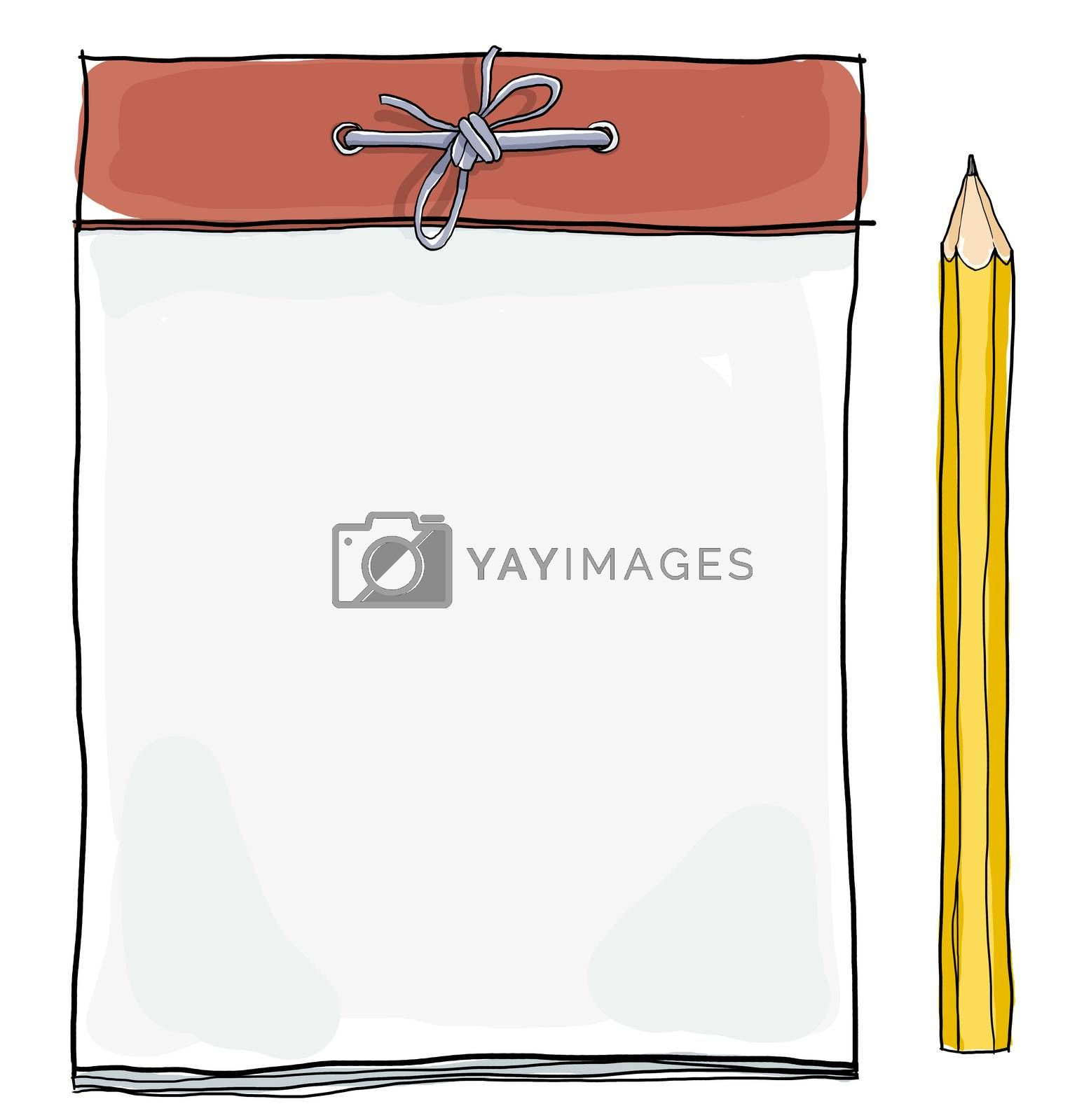 note pad and  yellow pencil cute illustration