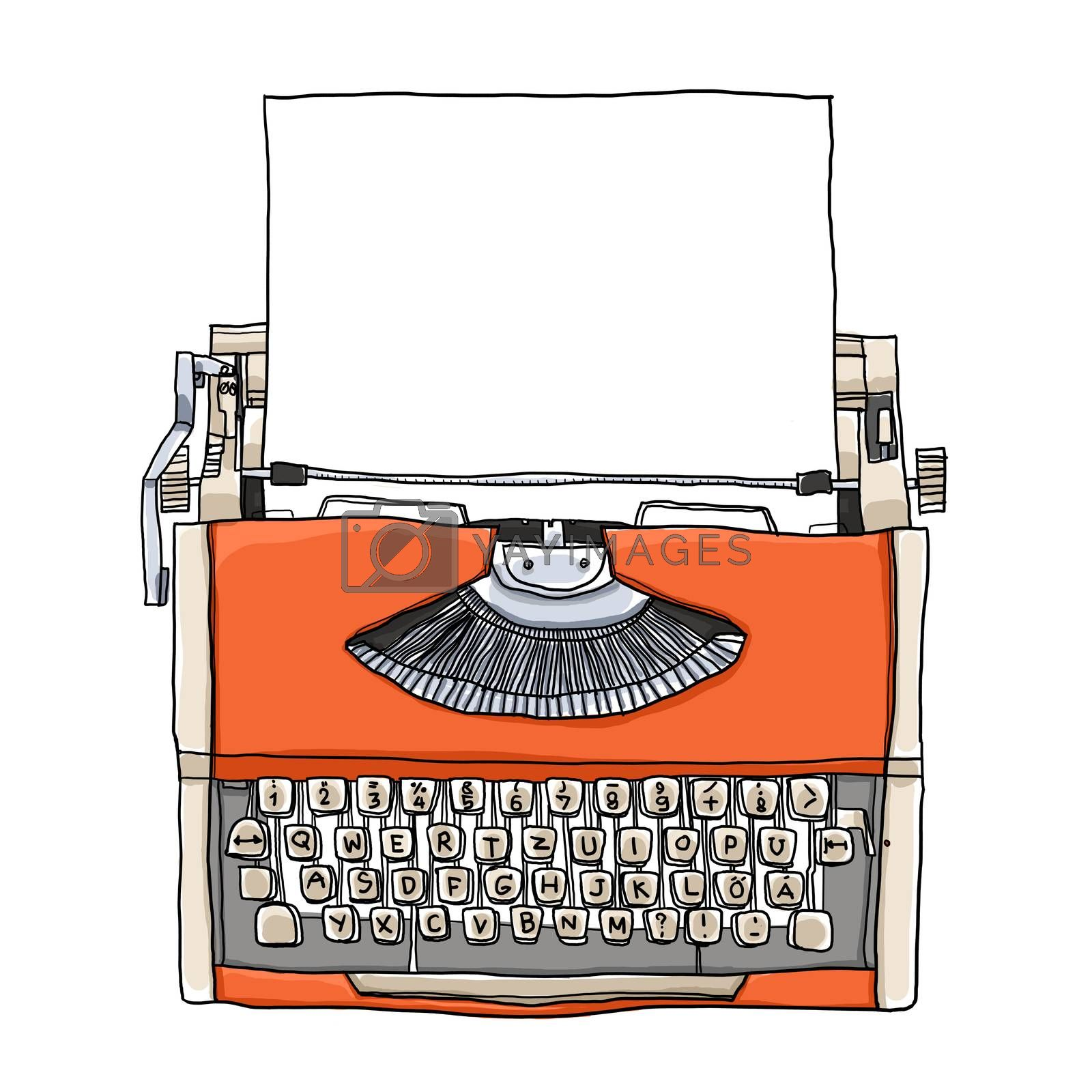 Orange Typewriter vintage with paper art illustration
