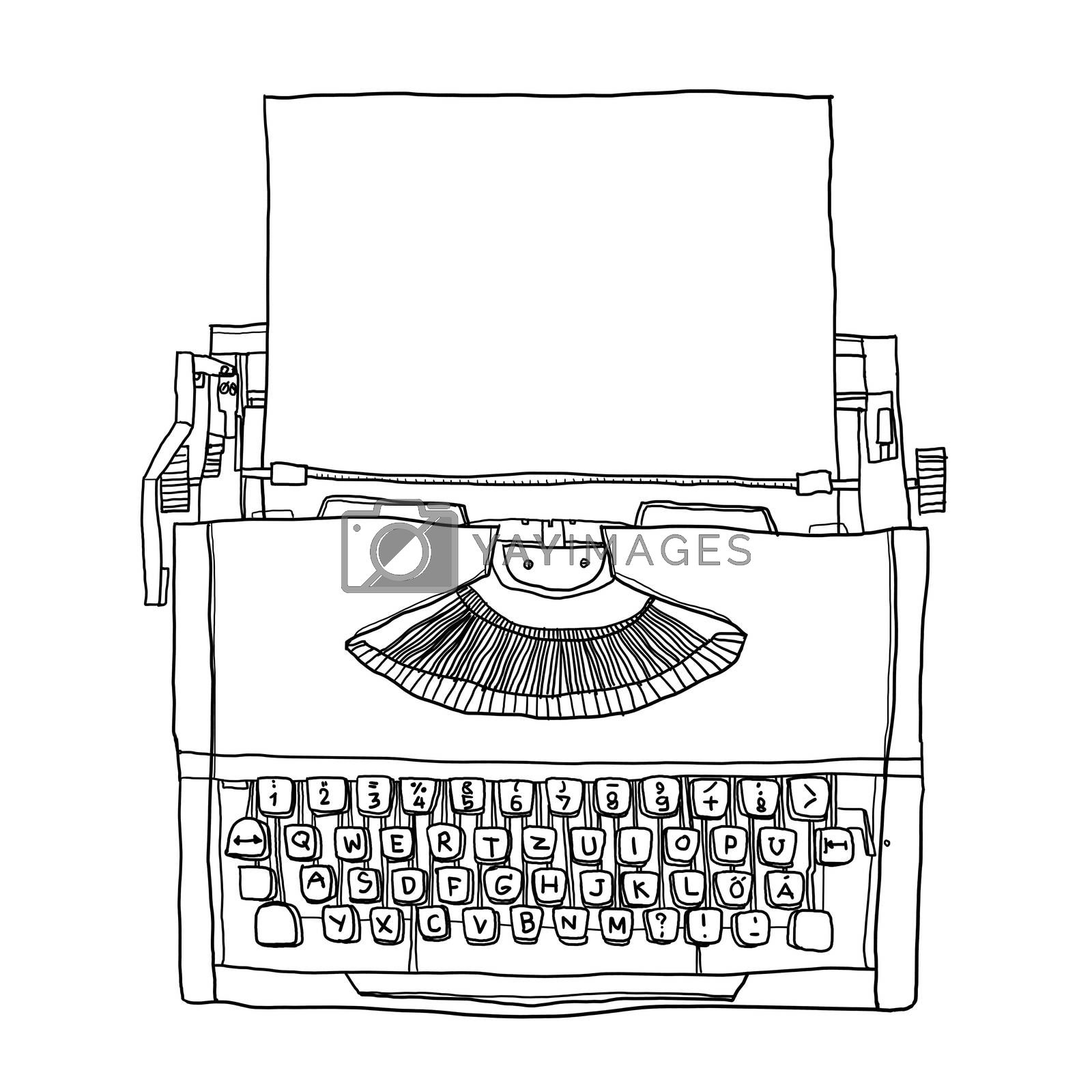 Orange Typewriter vintage with paper  line art illustration