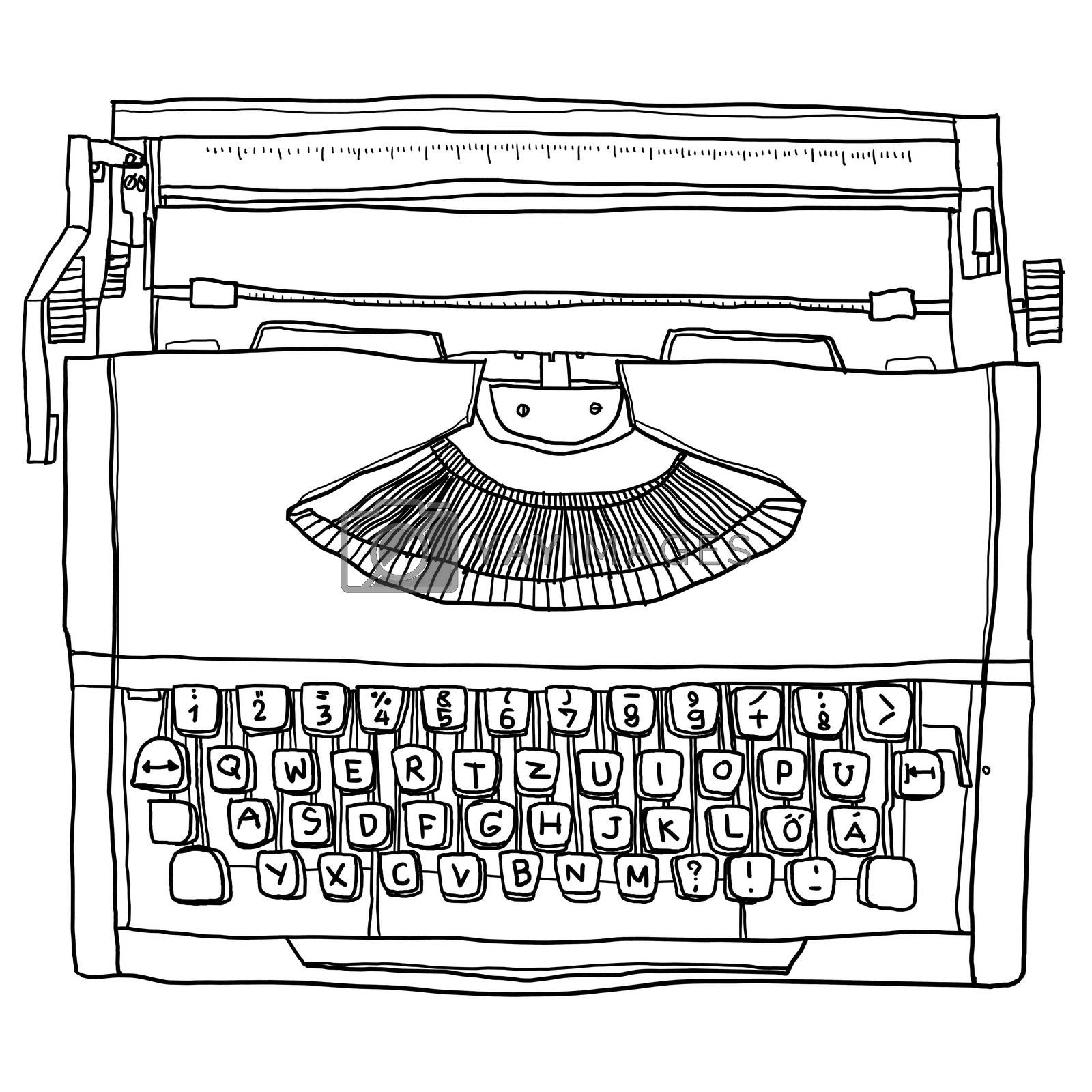 Orange Typewriter vintage  line art illustration