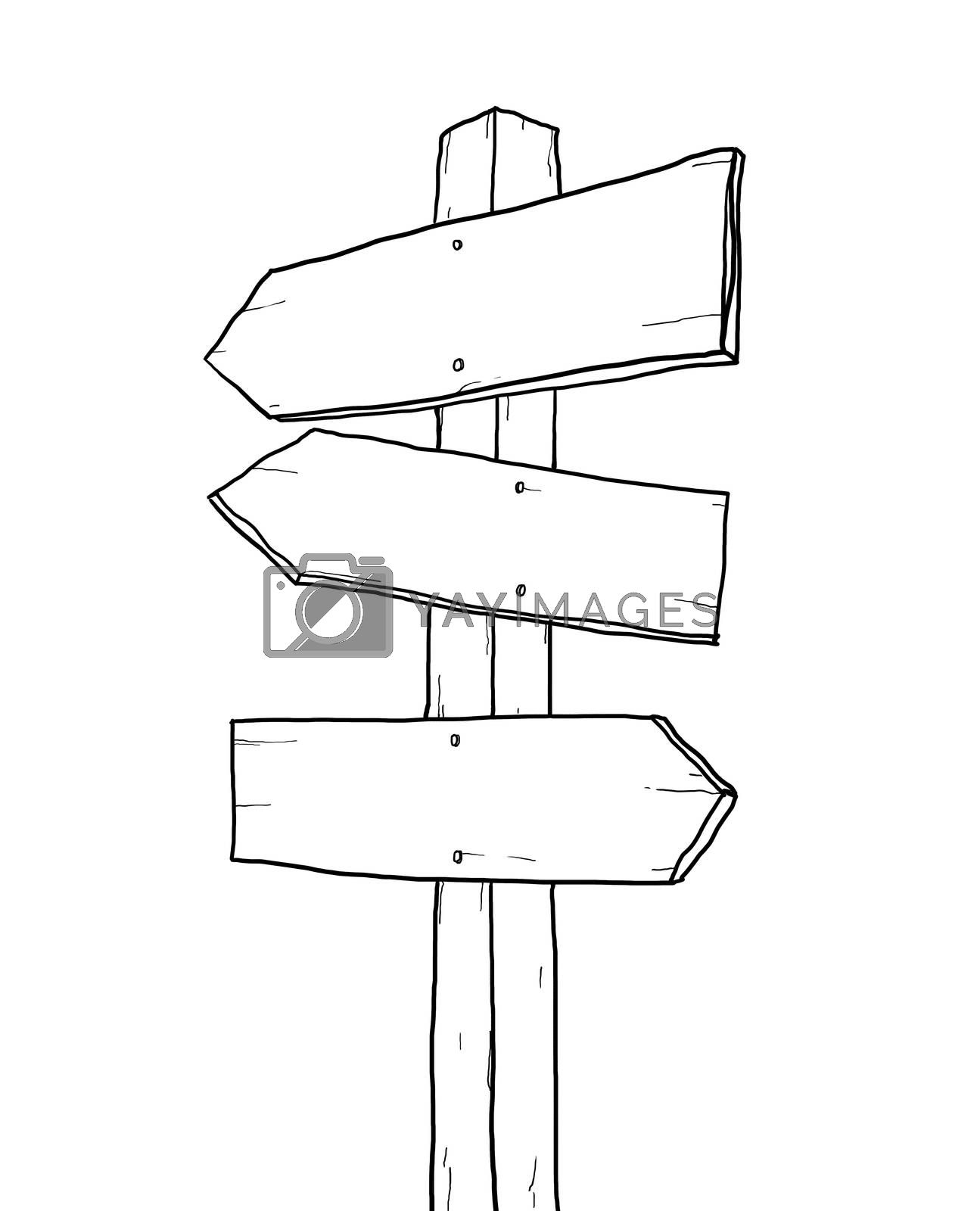 old sign junction lineart illustration