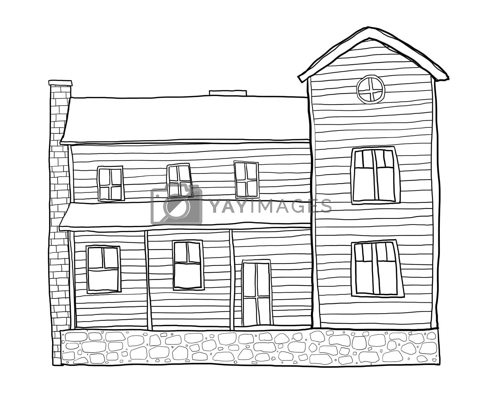 old house style cute line art illustration