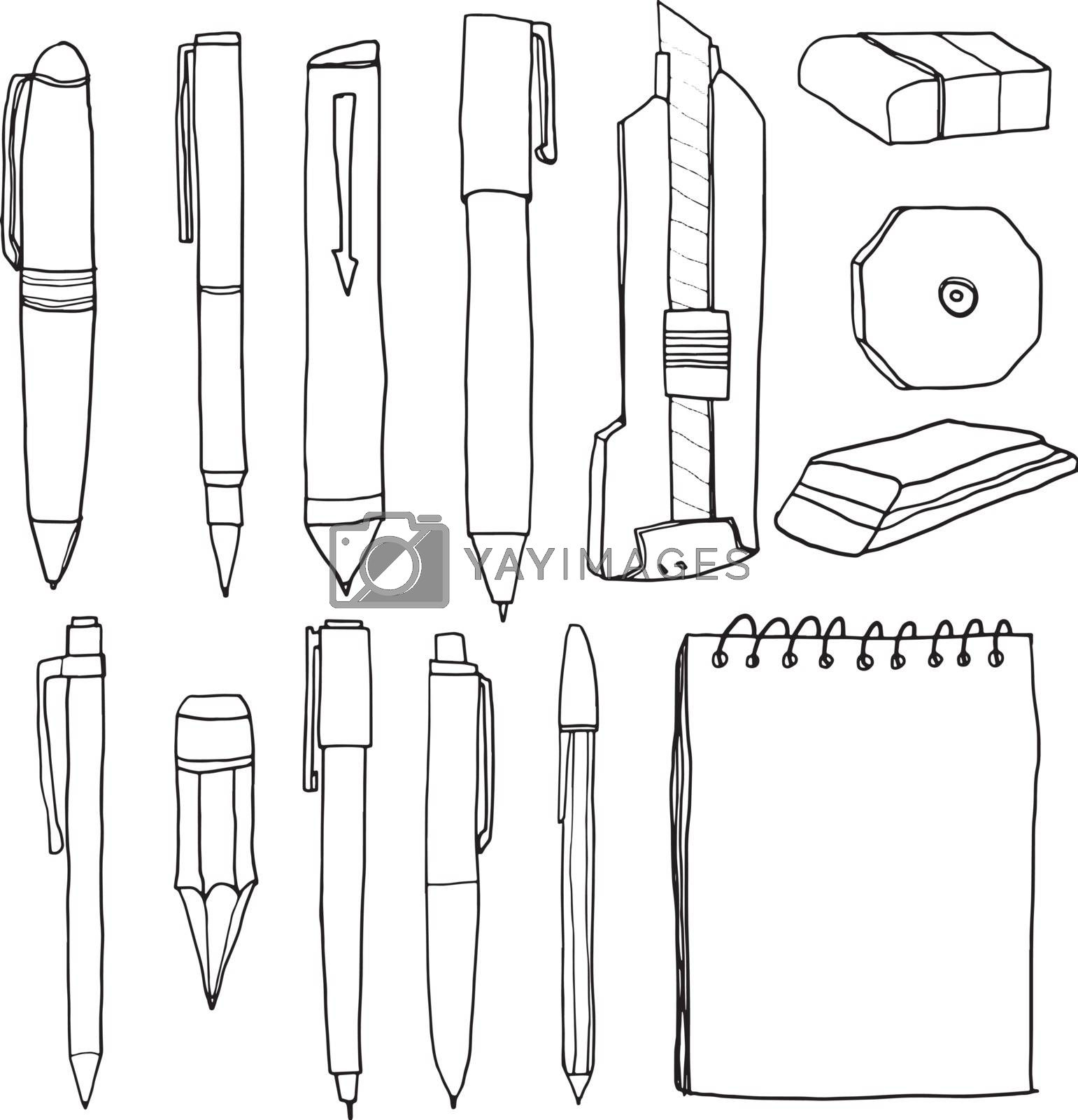 office supplies  pencil pens cutter eraser line art vector  illustration