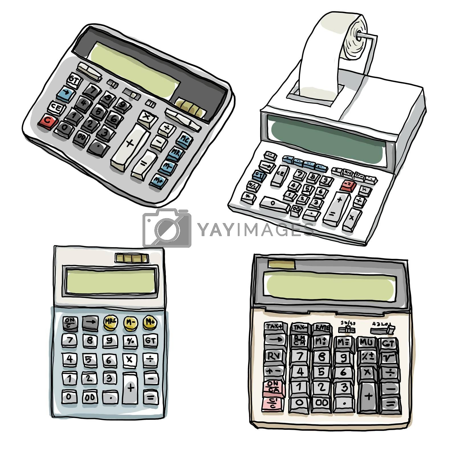 Office calculator lovely set  paintings illustration