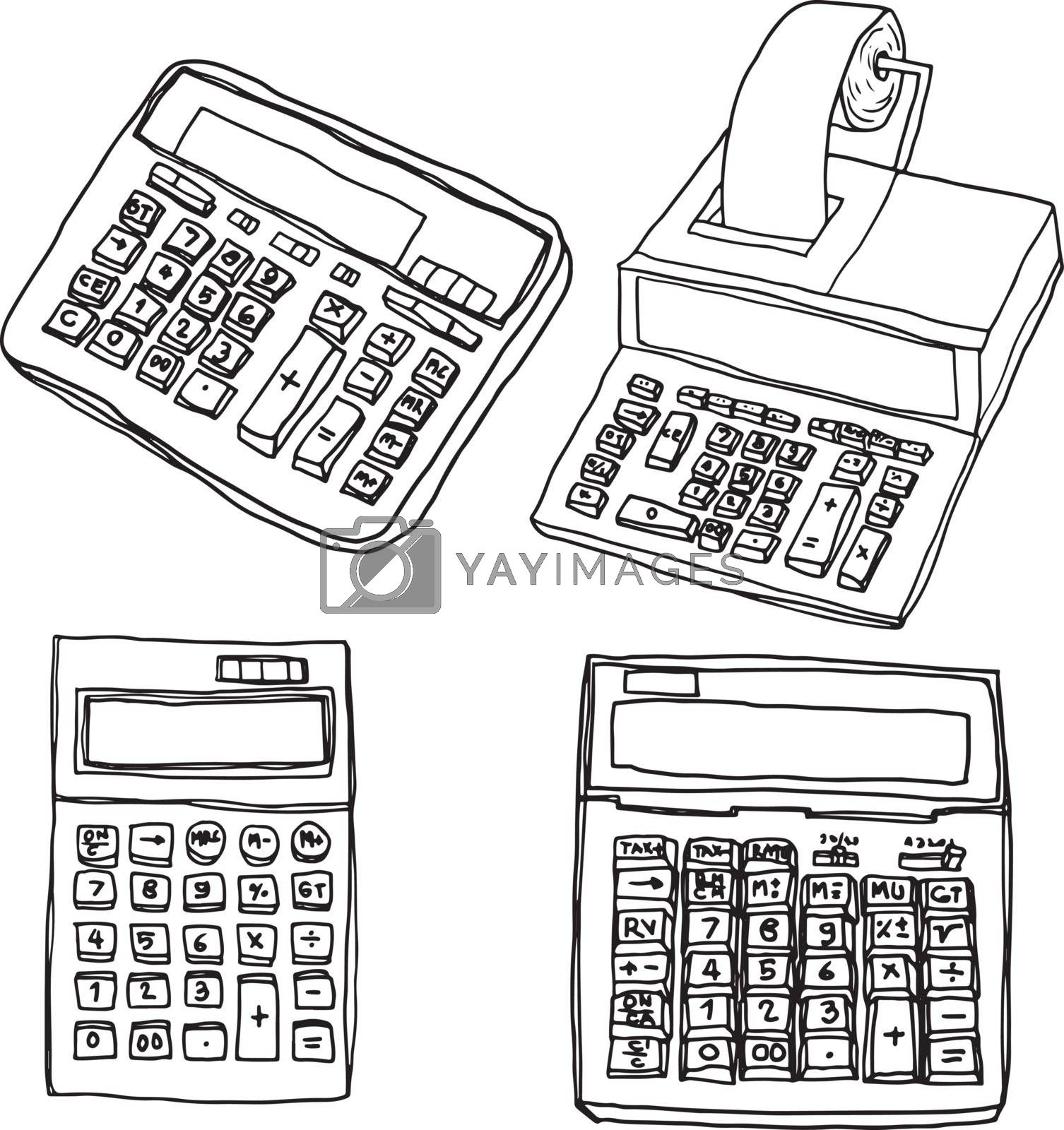 Office calculator lovely set vector  line art illustration