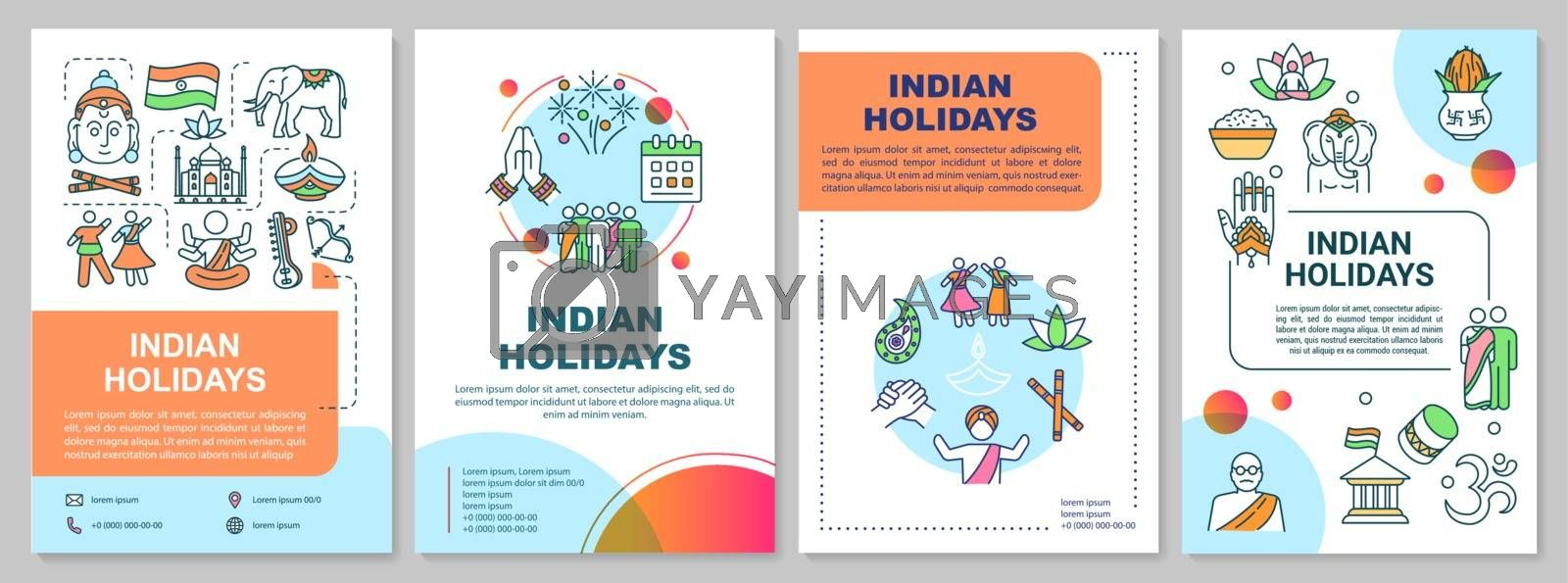 Indian holidays brochure template. National festivals in India flyer, booklet, leaflet print, cover design with linear icons. Vector layouts for magazines, annual reports, advertising posters