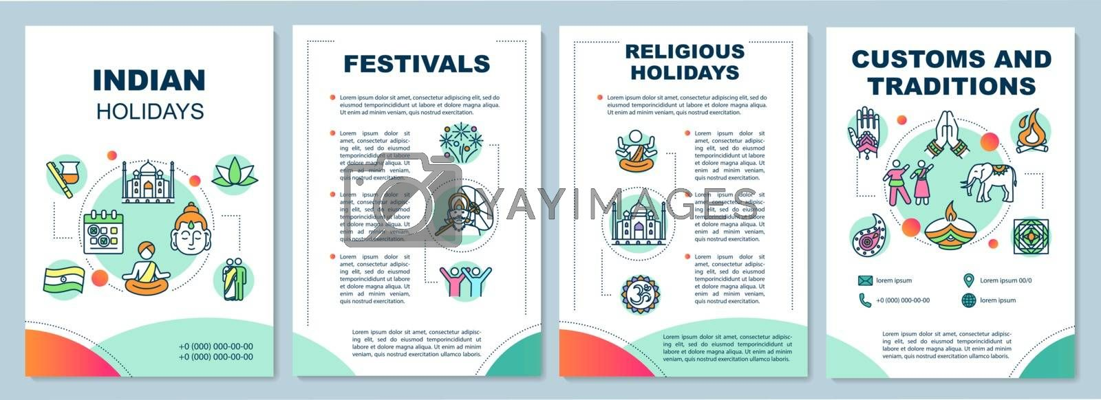 Culture of India brochure template. Traditional indian holidays flyer, booklet, leaflet print, cover design with linear icons. Vector layouts for magazines, annual reports, advertising posters