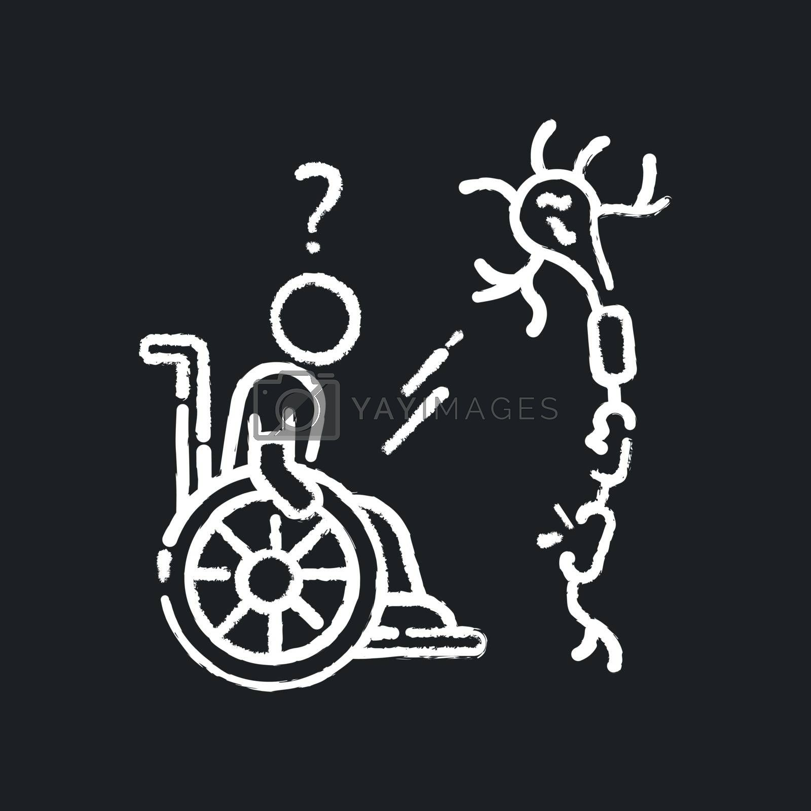 Multiple sclerosis chalk white icon on black background. Handicapped man in wheelchair. Neurology problem. Trauma treatment. Patient with spine injury. Isolated vector chalkboard illustration