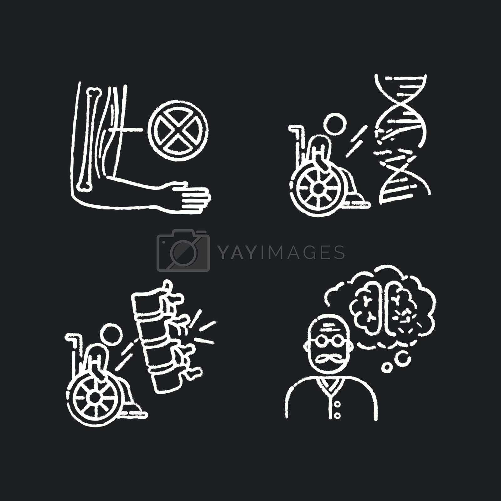 Disability chalk white icons set on black background. Muscular dystrophy. Chronic genetic disease. Paralyzed patient in wheelchair. Aging man with dementia. Isolated vector chalkboard illustrations