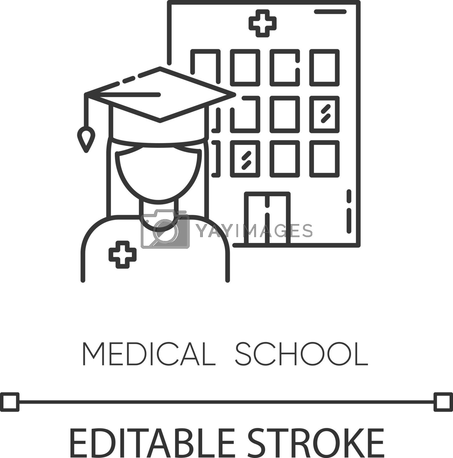 Medical school pixel perfect linear icon. Vocational education, professional university thin line customizable illustration. Contour symbol. Vector isolated outline drawing. Editable stroke
