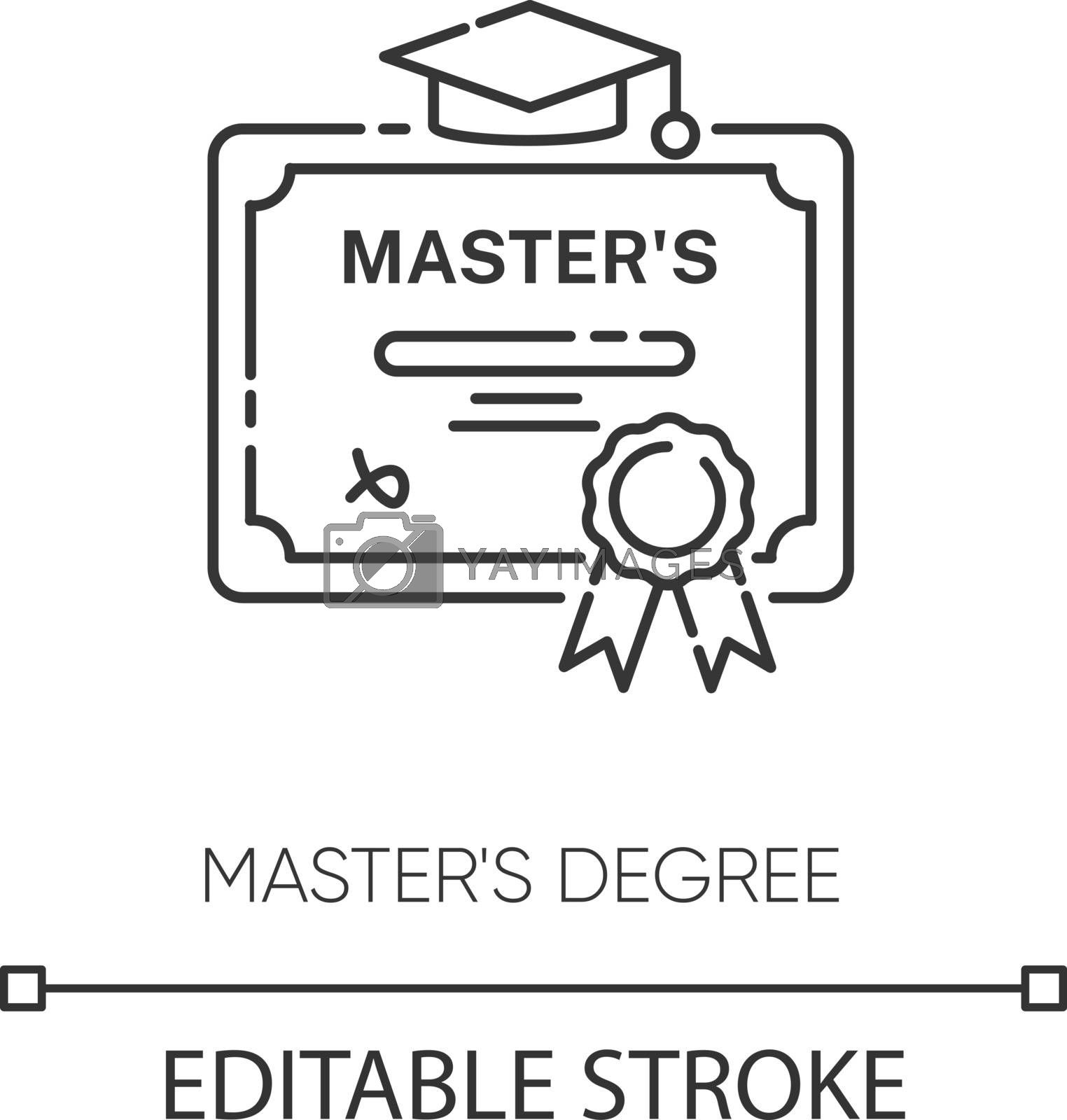 Masters degree pixel perfect linear icon. Higher education thin line customizable illustration. Contour symbol. Graduation certificate vector isolated outline drawing. Editable stroke