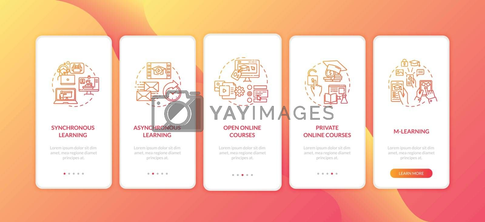 Distance learning types onboarding mobile app page screen with concepts. M learning. Online education walkthrough 5 steps graphic instructions. UI vector template with RGB color illustrations