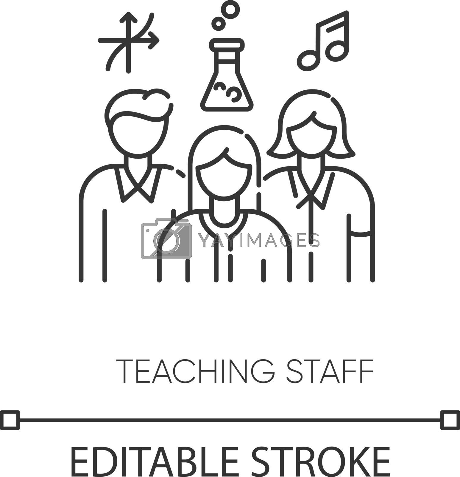 Teaching staff pixel perfect linear icon. Mathematics, chemistry and music teachers thin line customizable illustration. Contour symbol. Vector isolated outline drawing. Editable stroke