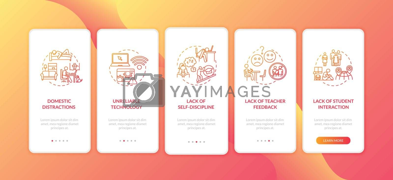Distance learning cons onboarding mobile app page screen with concepts. Domestic distraction. Remote classes walkthrough 5 steps graphic instructions. UI vector template with RGB color illustrations