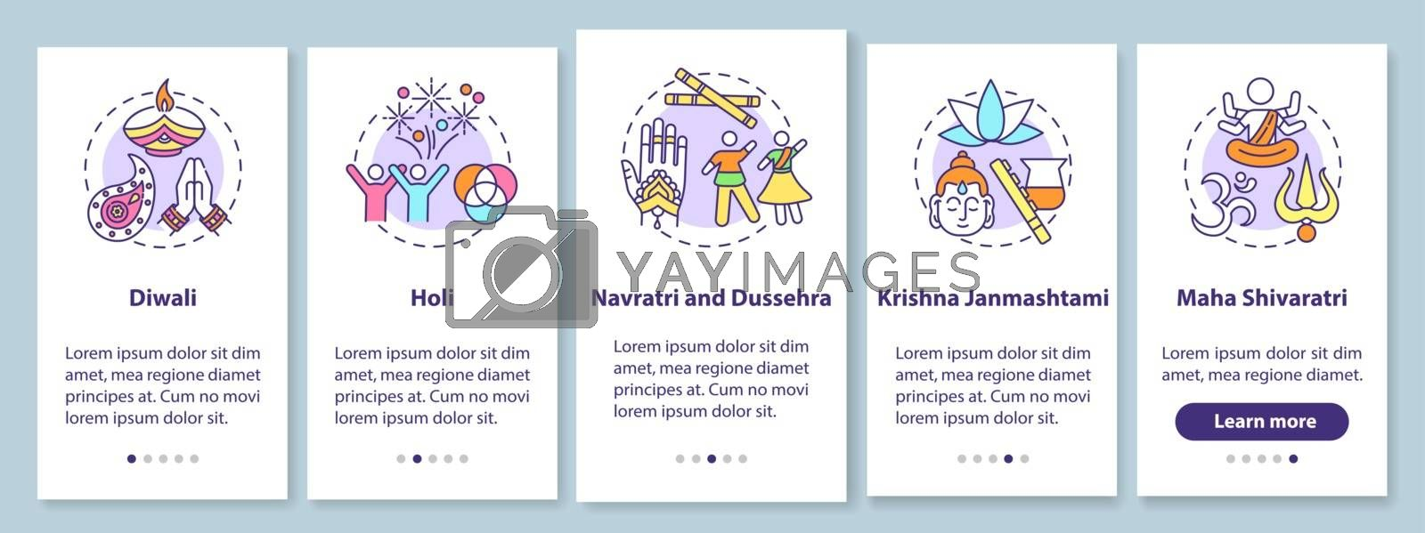 Top Hindu festivals onboarding mobile app page screen with concepts. Krishna Janmashtami. Navratri. Dussehra. Walkthrough 5 steps graphic instructions. UI vector template with RGB color illustrations