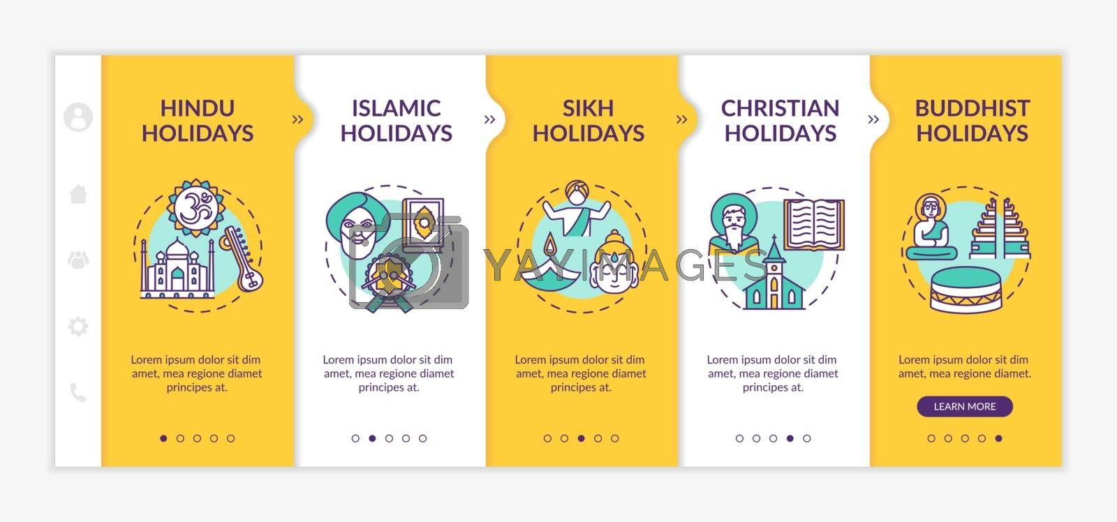 Indian religious holidays onboarding vector template. Hindu and Islamic holidays. Public holidays in India. Responsive mobile website with icons. Webpage walkthrough step screens. RGB color concept