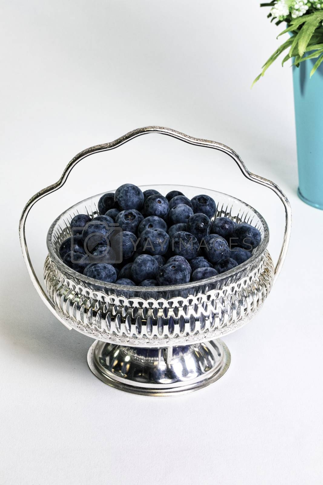 Plump, ripe blueberries in antique silver filigree bowl.