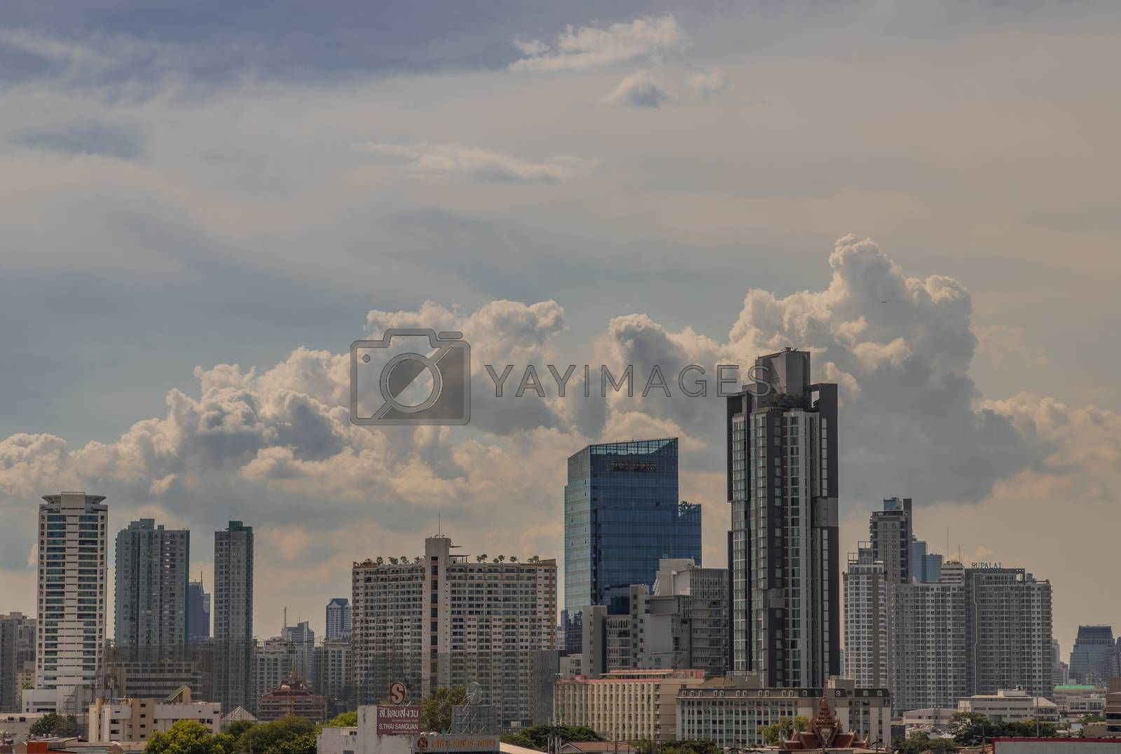 Bangkok, Thailand - Jul 23, 2020 : City view of Bangkok before the sun rises creates energetic feeling to get ready for the day waiting ahead. Selective focus.