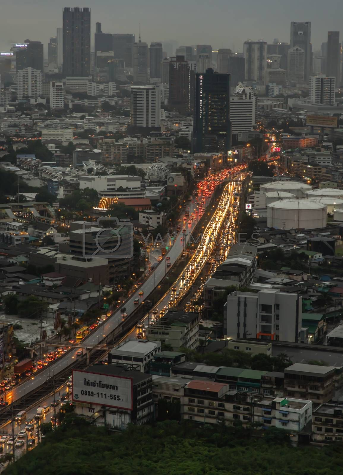 Bangkok, Thailand - Jun 17, 2020 : City view of Bangkok before the sunset creates energetic feeling to get ready for the day waiting ahead. No focus, specifically.