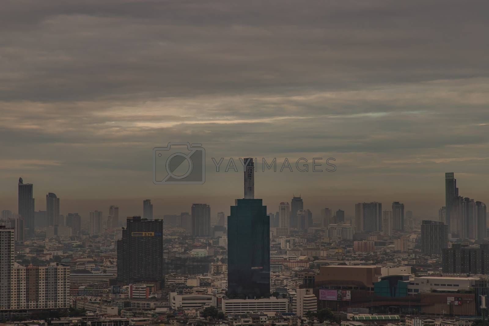 Bangkok, Thailand - Jun 19, 2020 : Beautiful city view of Bangkok before the sun rises creates relaxing feeling for the rest of the day. Selective focus.
