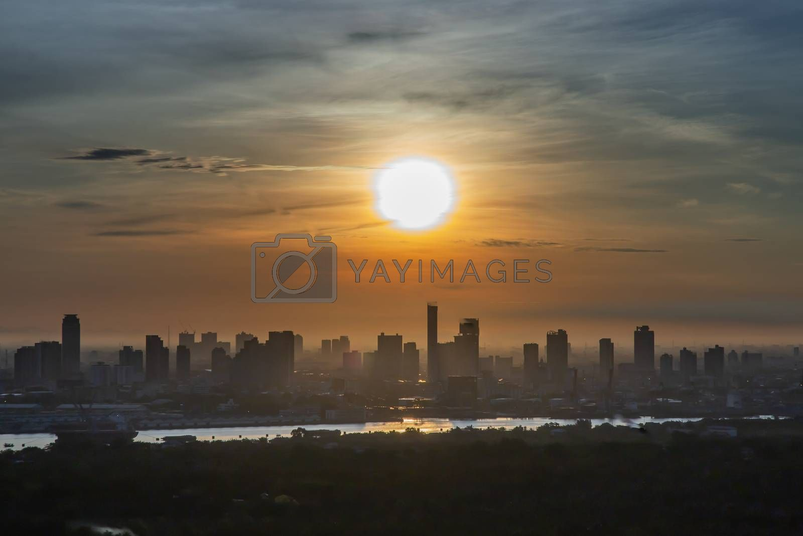 Bangkok, Thailand - Jun 28, 2020 : Beautiful city view of Bangkok before the sunset creates relaxing feeling for the rest of the day. Selective focus.