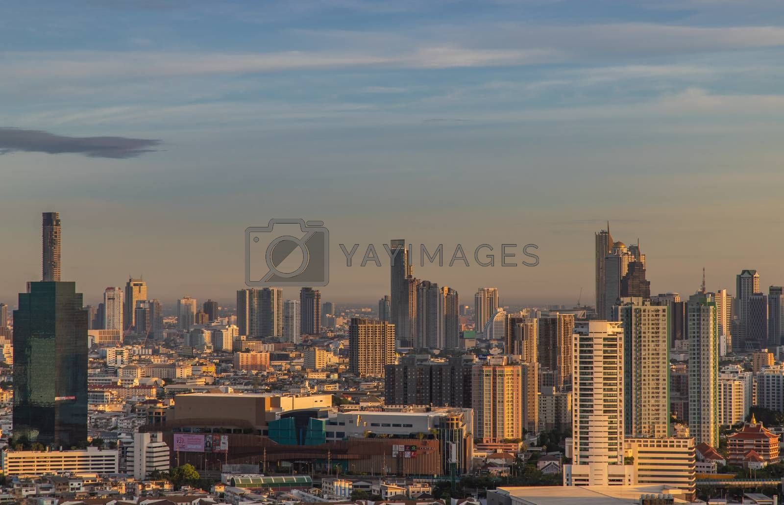 Bangkok, Thailand - Jun 28, 2020 : City view of Bangkok before the sun rises creates energetic feeling to get ready for the day waiting ahead. Selective focus.