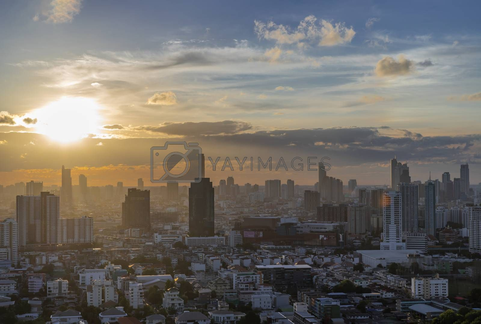 Bangkok, Thailand - Jun 30, 2020 : Beautiful city view of Bangkok before the sunset creates relaxing feeling for the rest of the day. Selective focus.