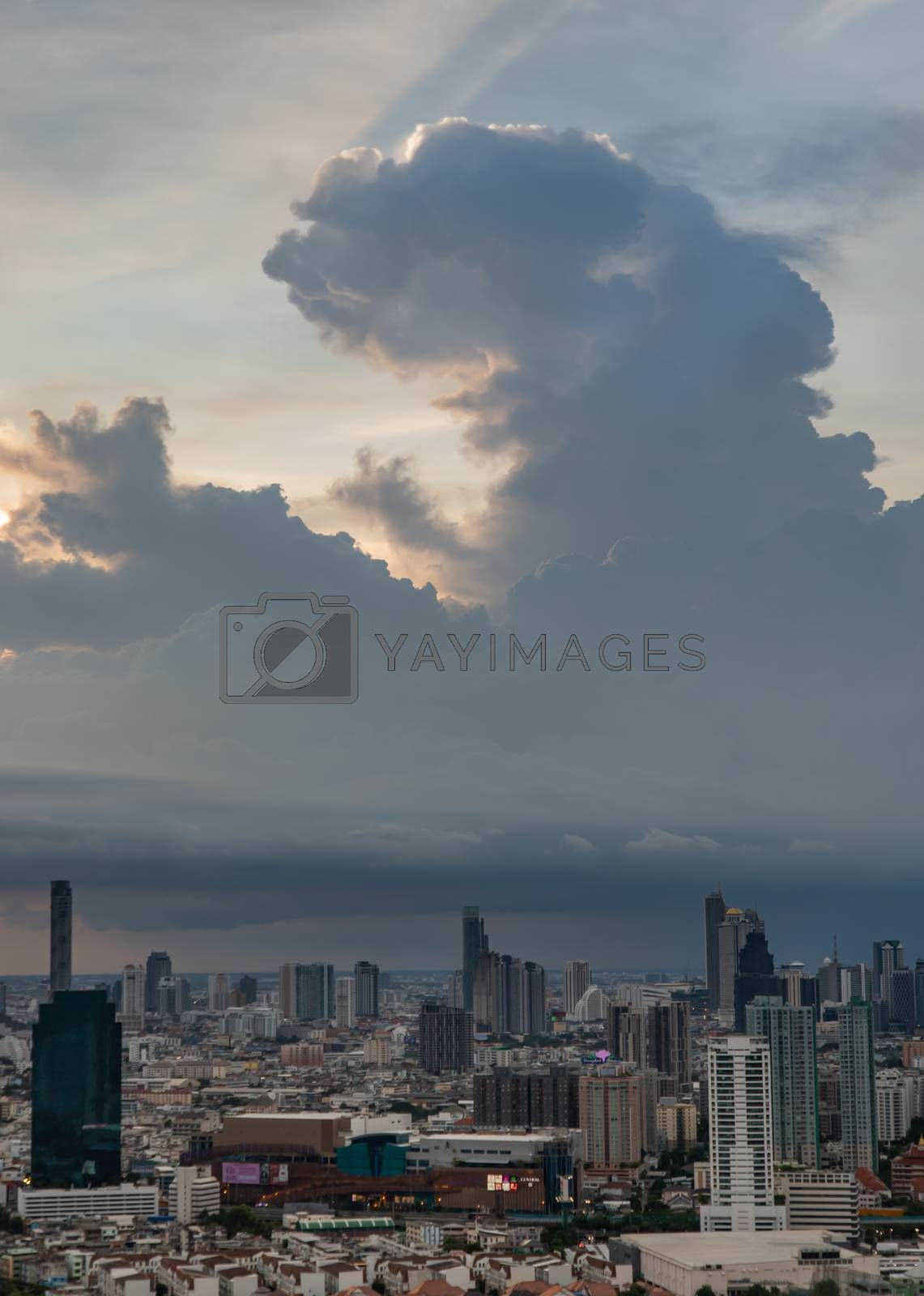 Bangkok, Thailand - Jun 27, 2020 : Beautiful city view of Bangkok before the sunset creates relaxing feeling for the rest of the day. Selective focus.