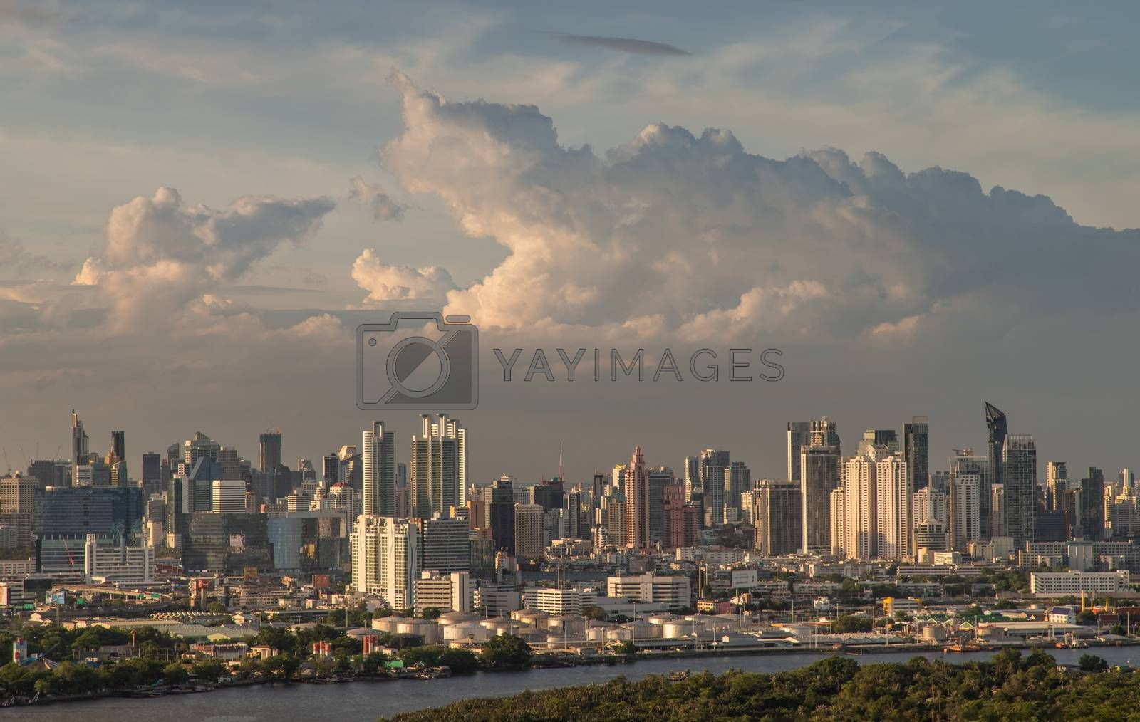 Bangkok, Thailand - Jun 30, 2020 : City view of Bangkok before the sun rises creates energetic feeling to get ready for the day waiting ahead. Selective focus.