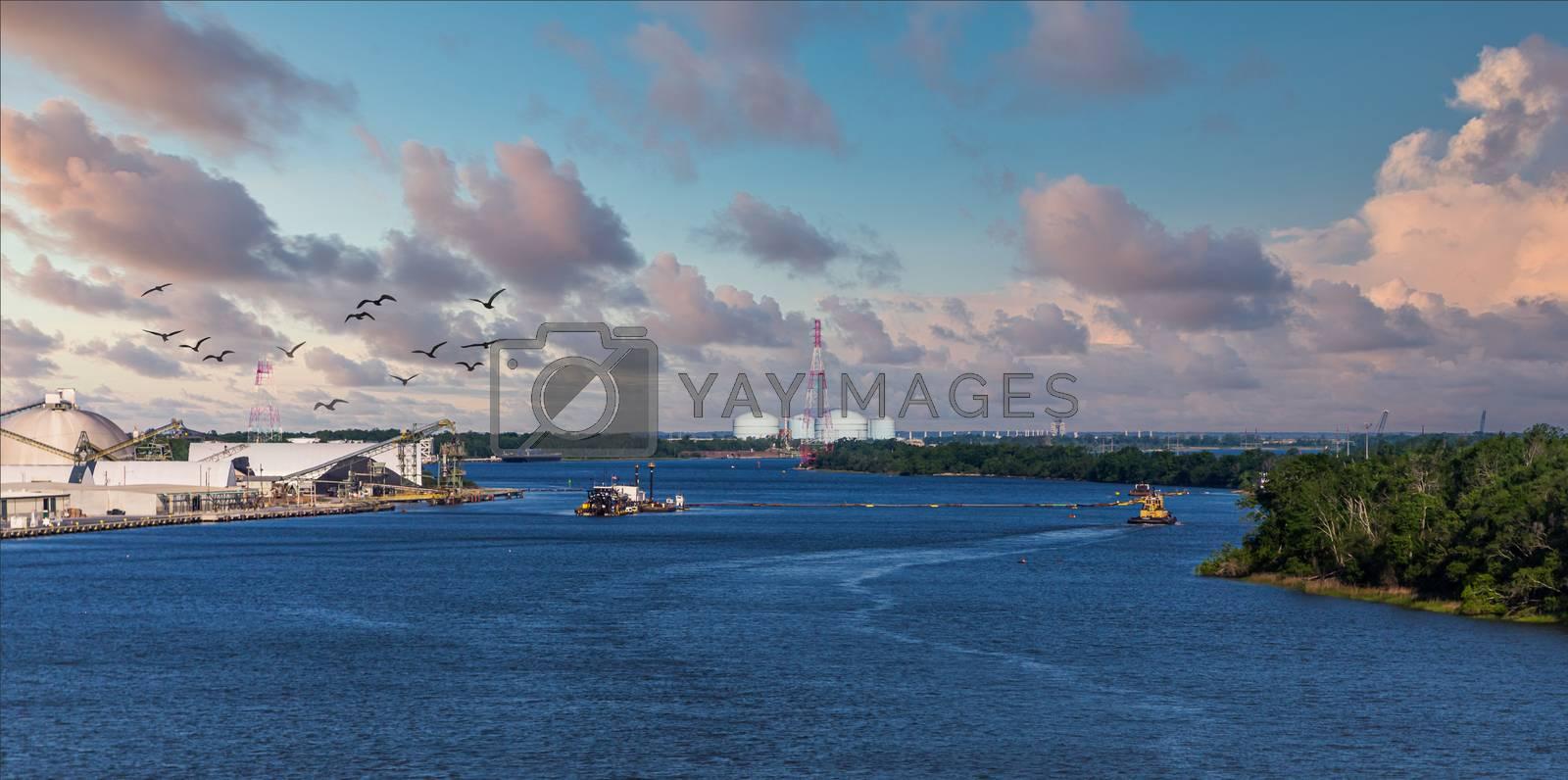Tugboat on the Savannah River in Georgia