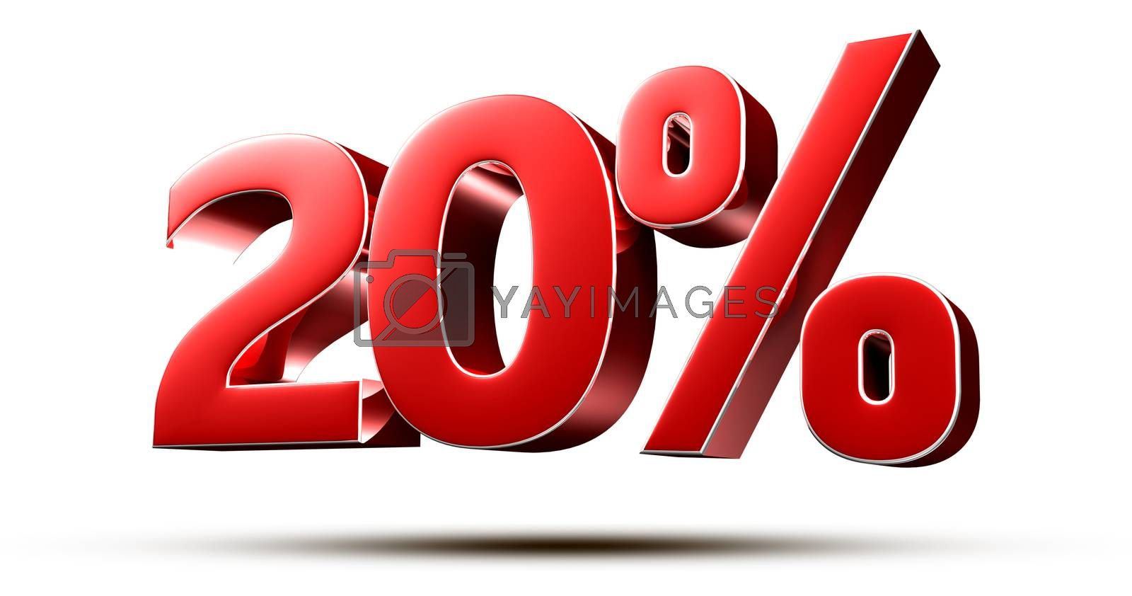 3D illustration 20 percent red isolated on a white background.(with Clipping Path).