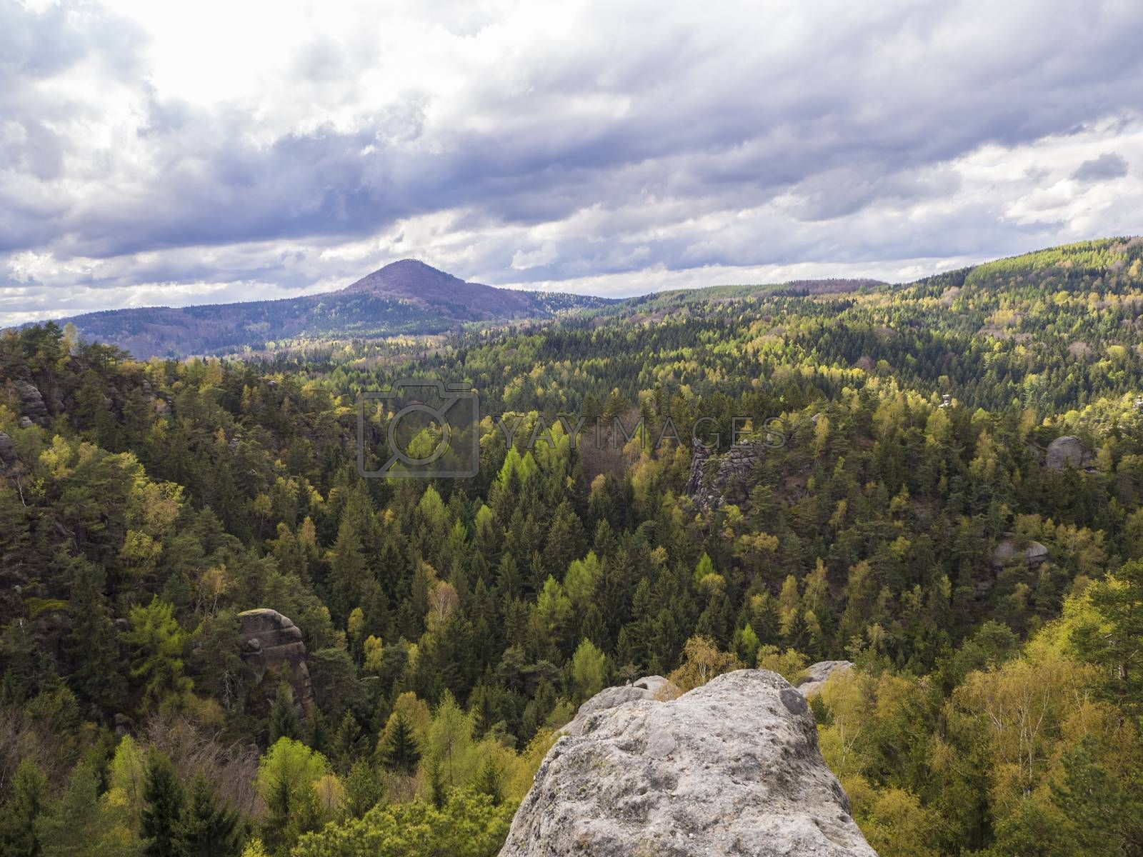 view from sandstone pillar on Luzicke hory mountain panorama with dramatic clouds and forests