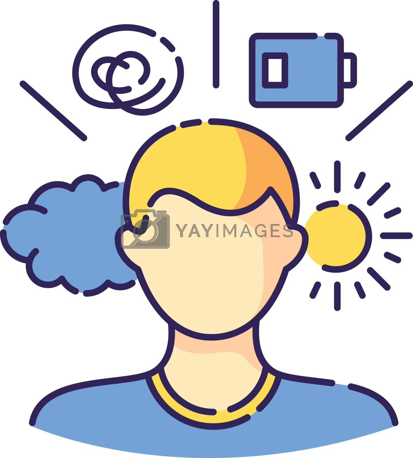 Mental health conditions RGB color icon. Psychological disorder. Psychotherapy for patient. Stress and depression. Emotion expression change. Mood swings. Isolated vector illustration