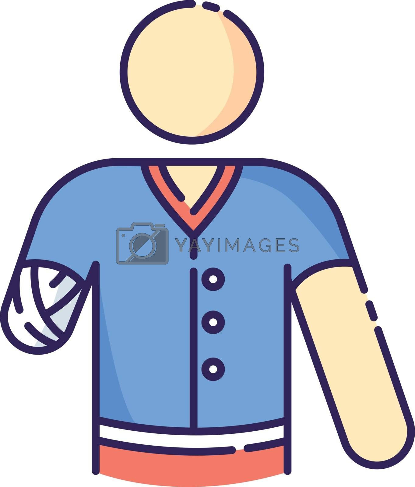Hand amputee RGB color icon. Disabled man. Damaged hand from injury. Patient with trauma. Bandaged shoulder. Hospital aid. Medical support after accident. Isolated vector illustration