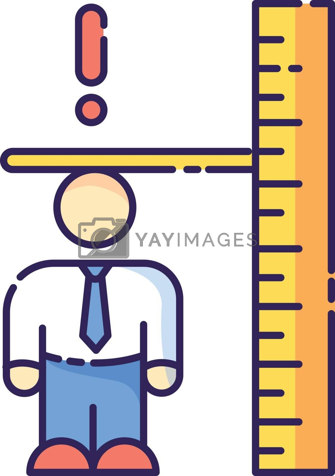 Dwarfism RGB color icon. Chronic genetic condition. Person with short height. Measurement of businessman. Inclusive workplace for handicapped person. Worker with disorder. Isolated vector illustration