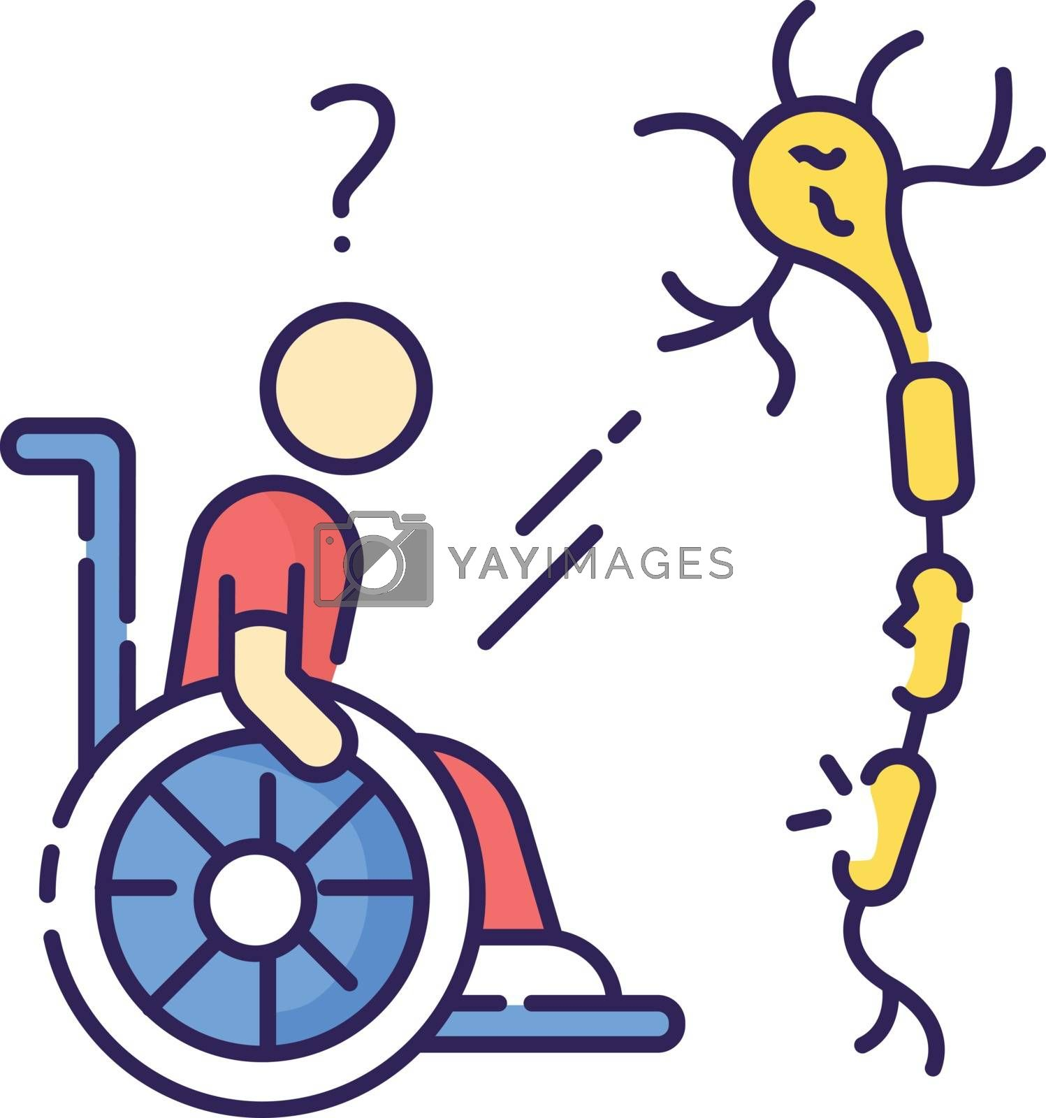 Multiple sclerosis RGB color icon. Handicapped man in wheelchair. Neurology problem. Trauma treatment. Invalid with immune disease. Patient with spine injury. Isolated vector illustration