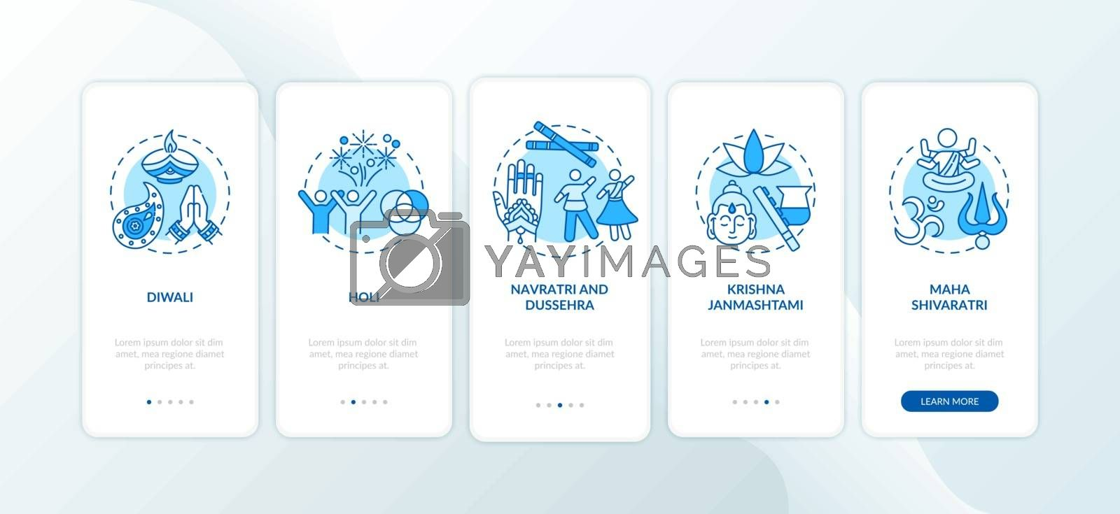 Top Hindu festivals onboarding mobile app page screen with concepts. Holi and Diwali. Navratri. Walkthrough 5 steps graphic instructions. UI vector template with RGB color illustrations