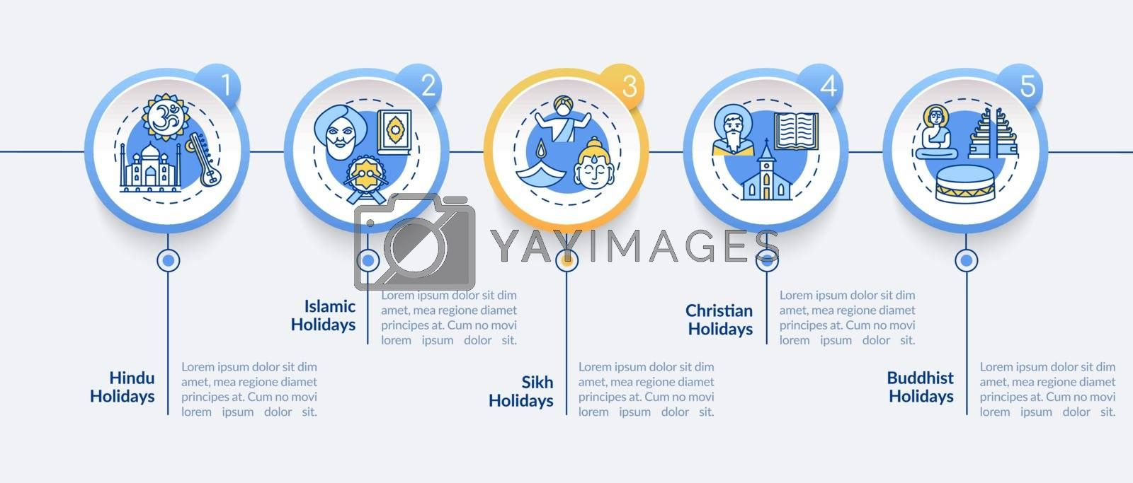Indian religious holidays vector infographic template. Buddhist holidays. Presentation design elements. Data visualization with 5 steps. Process timeline chart. Workflow layout with linear icons