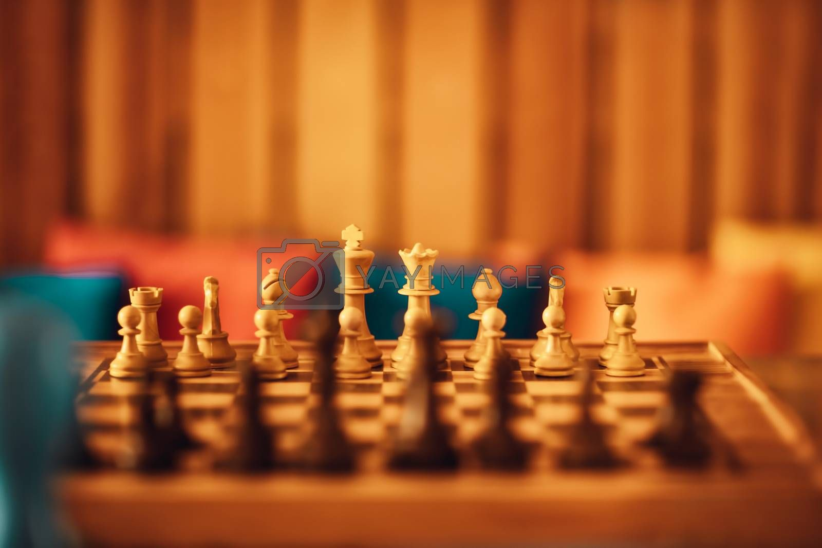 Game of Chess. Checkerboard with Figures. Soft Warm Light. Intellectual Sports.