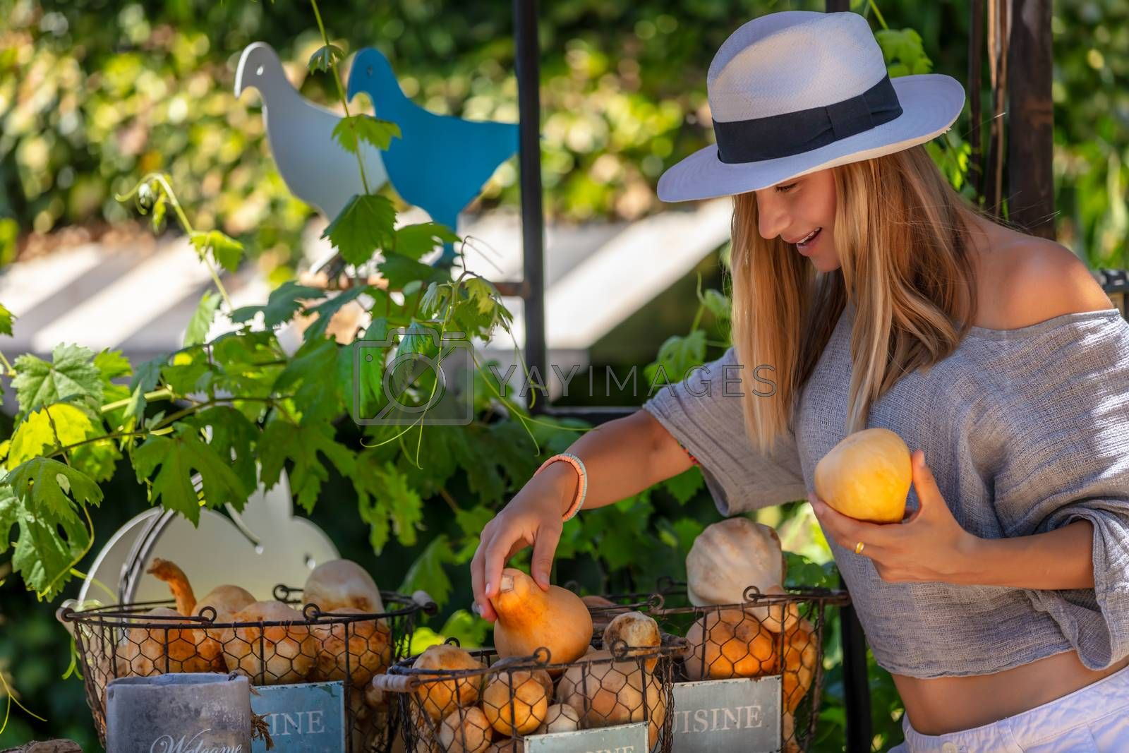 Beautiful Young Female at Outdoors Vegetables Market. With Pleasure Choosing Fresh Ripe Mini Pumpkins. Organic Nutrition. Healthy Lifestyle.