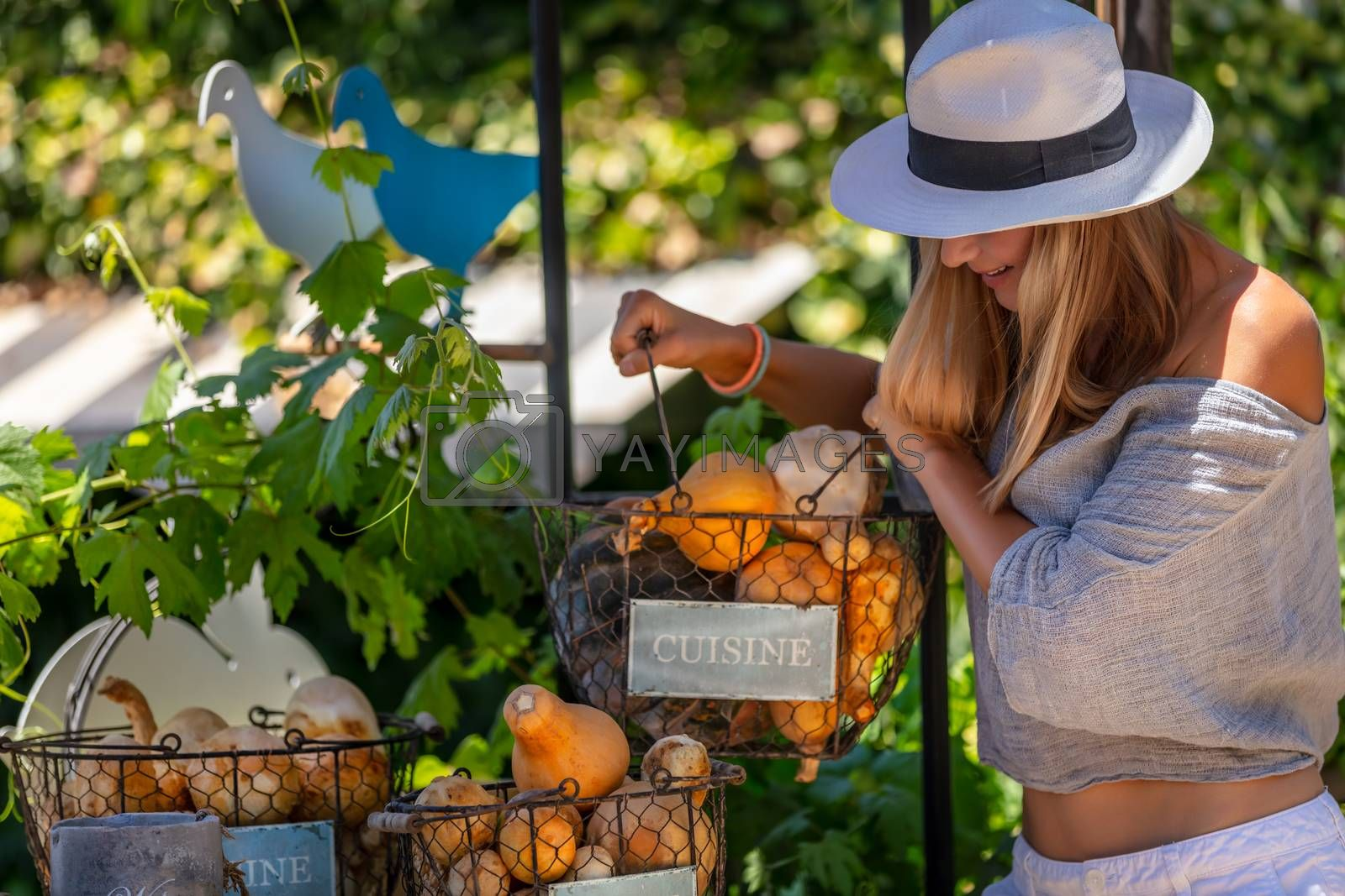 Happy Healthy Woman with Pleasure Spending Summer day at Outdoor Farm Market. Choosing Fresh Ripe Organic Fruits and Vegetables. Vegetarian Nutrition. Healthy Lifestyle.