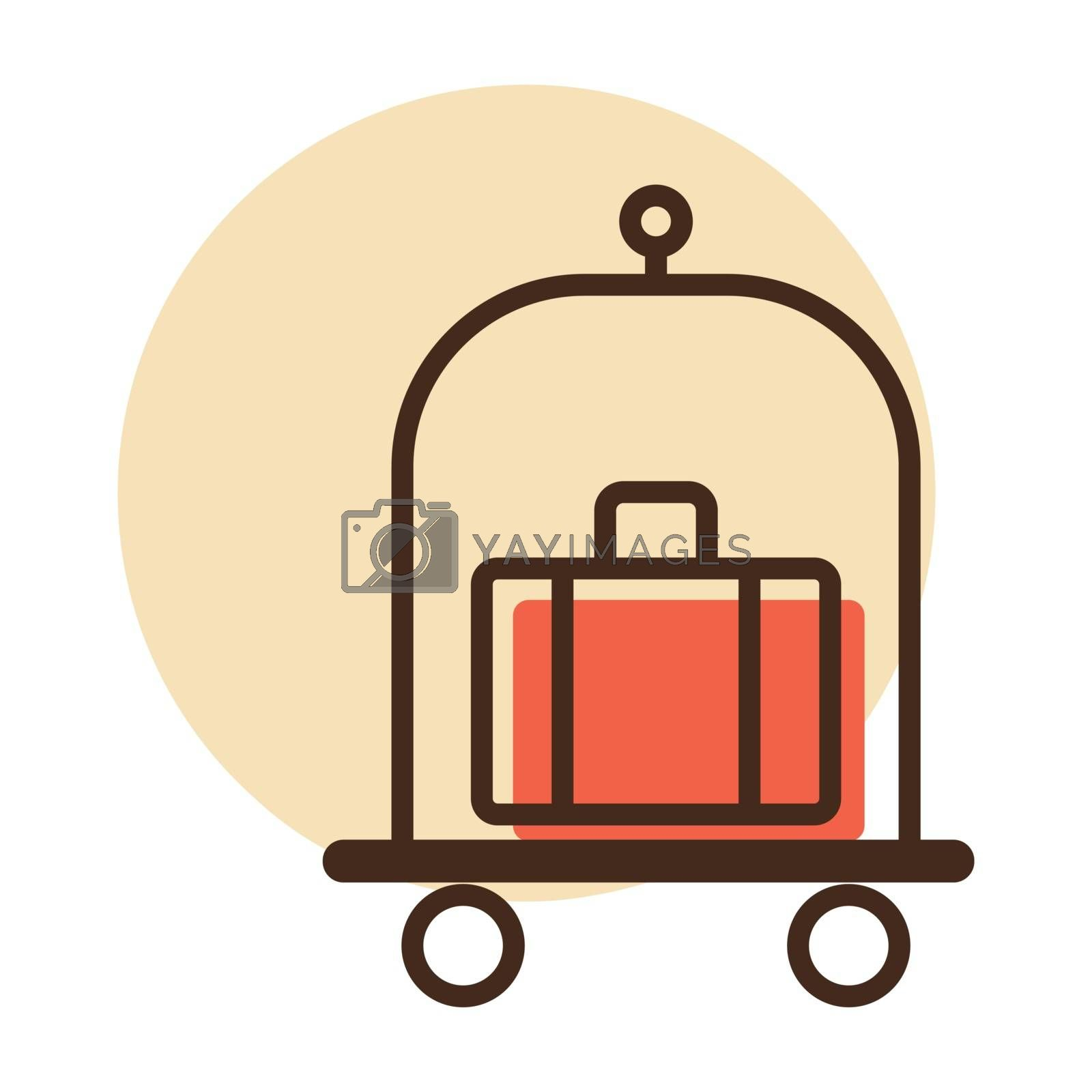 Baggage, luggage, suitcases on trolley flat vector icon. Hotel sign. Graph symbol for travel and tourism web site and apps design, logo, app, UI